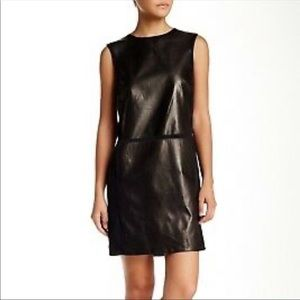 Vince leather silk black shift dress sleeveless